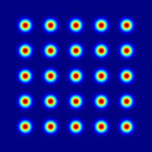 图 1:衍射分束器 5x5 点阵列输出